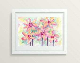 Nursery Girl Decor Room Art Painting Flowers Watercolor Floral Painting Small Art Gift for Her Watercolor Painting Original Artwork