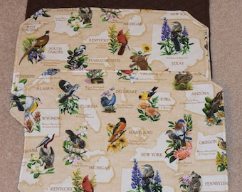 Placemats - State Birds print -  reversible - SET of 4