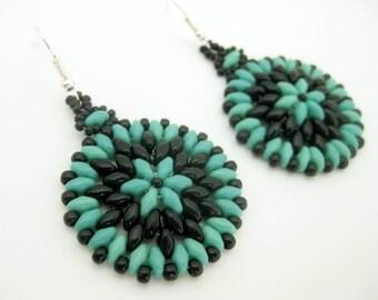 Beaded Earrings / Superduo Earrings / Seed Bead Earrings in Turquoise and Black / Sterling Silver Earrings / Hoop Earrings / Beadwoven