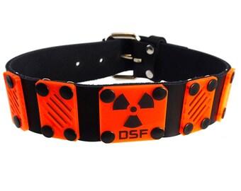 DSF LIMiTED EDITION Dissipate Plate Collar - Real Leather Choker - UV Plastic Acrylic Orange Cyberpunk Cybergoth Radiation Black Club
