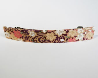 Flower French Barrette, Long Hair Clip, Large Chiyogami Barrette, Purple