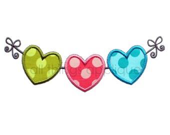 Hearts on a String - Valentine Applique Design - Machine Embroidery Design - INSTANT DOWNLOAD