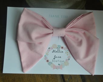 7 Inch Pastel Light Pink Fabric Big Hair Bow with Tails