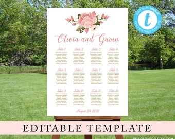 Floral Wedding Seating Chart, Editable Template, Pink Peony Wedding Reception Sign, DIY Find Your Seat Poster, Templett Digital File