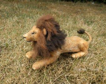 Needle Felted Animal Sculpture, Lion