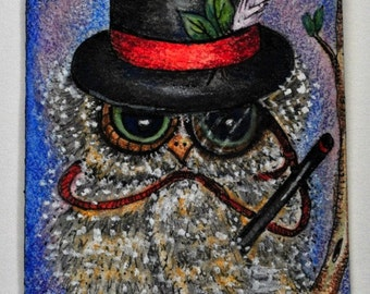 Artist Trading Card, art collectable, fun art, illustration of cute whimsical owl dressed in a top hat and monocle.