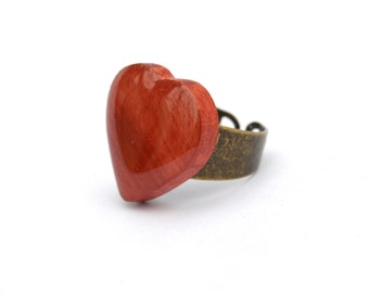 Red heart ring Valentine's Day gift for her wife gift girlfriend gift heart jewelry promise ring