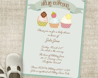 Cupcake Boy Baby Shower Invitation Banner Custom Digital Printable File with Professional Printing Option Hello Cupcake
