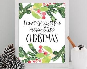 8x10 Christmas Art Print, Christmas Decor, Printable Wall Art, Merry Little Christmas, Instant Download