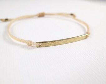 Gold Hammered Bar Bracelet