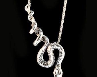 Snake Necklace Silver Snake Pendant Snake Jewelry Serpent Necklace Serpent Pendant Serpent Jewelry Python Pendant Medusa Statement Necklace