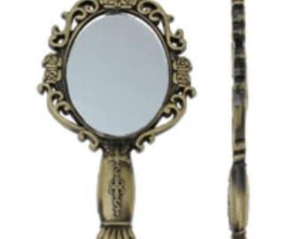 1pc 72x38mm antique bronze finish metal mirror pendant-7226O
