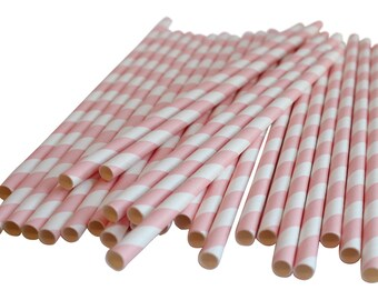 Light Pink Paper Straws Table Decoration