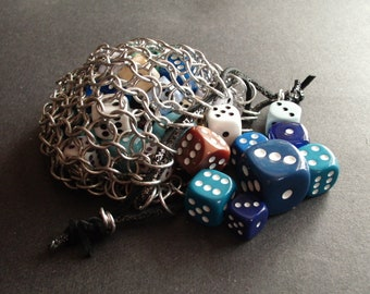 Chainmail Dice Bag, Silver