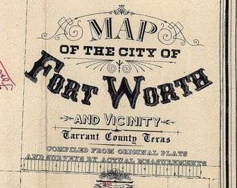 Old Texas Fort Worth wall Map Vintage Historical map Antique Restoration Decor Style Map of Fort Worth Texas state Map Texas Map