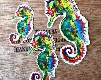 Handmade Watercolor Seahorse Sticker
