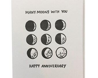 Many Moons Anniversary - Letterpress Anniversary Card