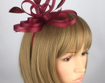 Burgundy Fascinator, Claret, red fascinator on headband, mother of the Bride, wedding fascinator, Ascot races, Occasion