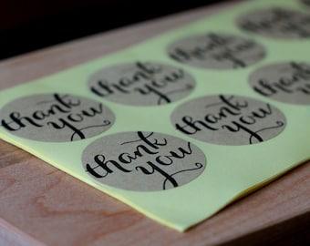 Script Font Thank You Kraft Paper Label Stickers - 3.8cm Round Circle Sticker Envelope Seals - 60 seals