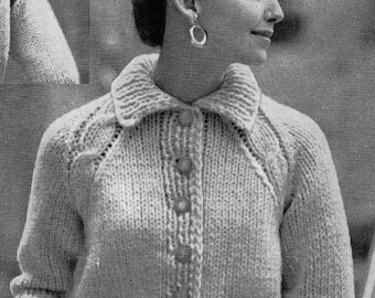 PATTERN 1950s Vintage Cropped Cardigan Sweater Buttondown Very Classy PDF Pattern. Cable knit shoulders. Collar