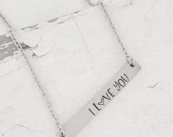 I love you necklace • Special date • bar necklace • initials • kids names • hand stamped name necklace • girlfriend gift