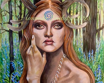 """NEW A4 """"Elen of the Ways/Bluebell"""" Mounted Print"""