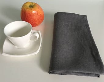 linen napkins set - Dinner linen napkin set of 4, 6, 8, 10, 12 - Softened handmade napkins - linen dinner napkins - Graphite/Slate/Asphalt.