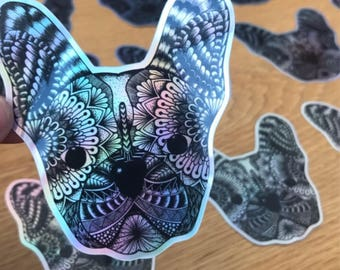 Frenchie holographic stickers