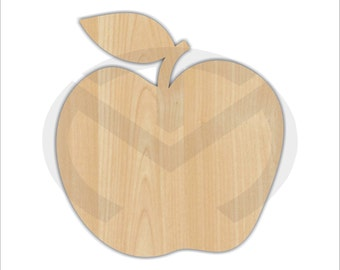 Apple - 01573- Unfinished Wood Laser Cutout, Door Hanger, Wreath Accent, Ready to Paint & Personalize, Various Sizes, Teacher, Kitchen