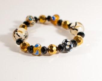 Black, Gold and White Glass Bead Stretch Bracelet