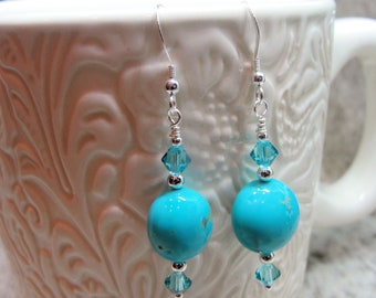 Arizona Kingman Turquoise and Swarovski Crystal Earrings