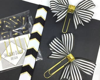 Bow Planner Clip and Bookmark Black White Monochrome with Gold Glitter decal Ribbon Page Marker Accessory Gift