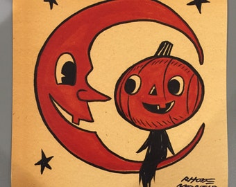 Vintage Style Halloween 8 x 8 inch PRINT by Rhode Montijo- OVER MOON