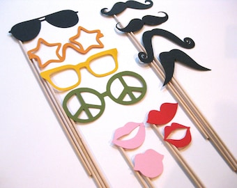 Photo Booth Props Set - Starter Kit - 12 piece set - lips, mustaches, glasses - Birthdays, Weddings, Parties - Photobooth Props