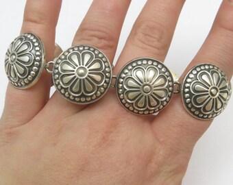 "Mexico Sterling Silver Flower Concho Oxidized 8 Link Bracelet 8"""