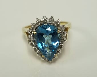 Size 7 Estate 10k Yellow Gold Natural 3ct Blue Topaz Aquamarine Zircon Pear Tear Drop Diamond Ring