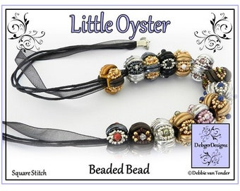Beading Pattern, Tutorial, Beaded Bead - LITTLE OYSTER