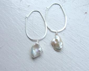 Keshi Pearl Earrings, Sterling Silver Earrings, June Birthday, Bridal Jewelry, Summer Bride, White Pearl Earrings,