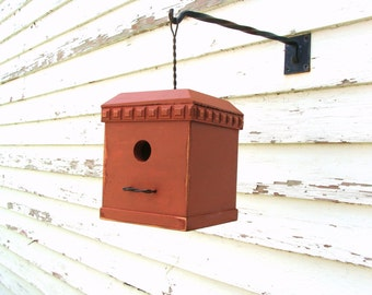 Rustic Orange Birdhouse, Cottage Beach Garden, Decorative Bird House, Wooden Birdhouse, Outdoor Birdhouse, Functional Birdhouse