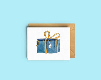 Mini card - Cat and gift - To give with your present - Gift card - Gift tag - watercolor illustration - catlovers - The Yellow Cat Studio