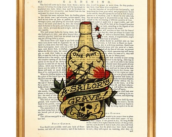 Sailor Jerry Tattoo Print One Pint a Sailor's Grave Wall ArtSailor Jerry Tattoo Poster Rum Bottle Book Page, Gift