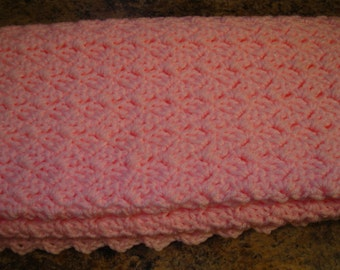 Handmade Pink Crochet Baby Blanket or Lap Blanket Afghan Baby Girl Baby Shower Gift Keepsake Ready to Ship