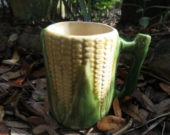 Majolica Corn Mug - Shawnee or Brush McCoy Pottery
