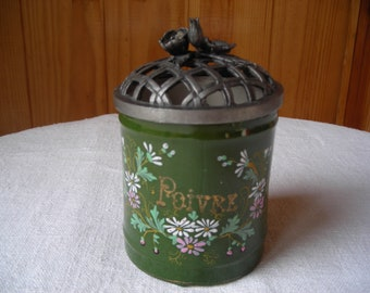 Unusual old earthenweare jar.  Vintage pottery storage jar.