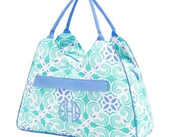 Monogram Beach Bag   Sea Tile Beach Bag   Monogram Pool Bag   Pretty Beach Bag
