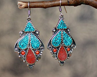Ethnic earrings, tibetan earrings, tribal earrings, gift for her, hippy earrings, geometric earrings, drop earrings, long earrings, boho