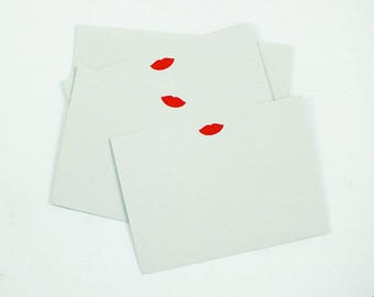 Set of 6 Letterpress Lips Notecards