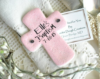 Cross Baptism Favors Personalized Salt Dough Christening Favors for Baptism Set of 6