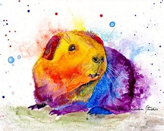 Guinea pig print: guinea pig wall decor guinea pig art nursery animal art guinea pig gift guinea pig spirit animal ellen brenneman