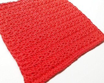 Red Washcloth - 100% COTTON Dishcloth - Handmade Wash Cloth - Crochet Washcloth, Dish Rag, Facial Cloth, Kitchen Rag